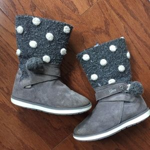 Geox gray suede polka dot pom boots 12